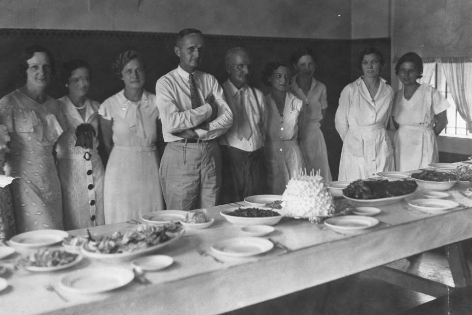 """Tabor #5: Staff attend a birthday party for Parchman legend A. J. """"Pap"""" Tabor circa 1930."""